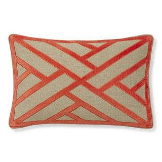 Line Pattern Velvet Applique Pillow Cover, Coral