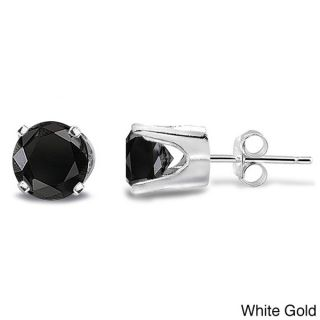 DB Designs 14k Gold 1/4ct TDW Black Diamond Round Stud Earrings (I2 I3