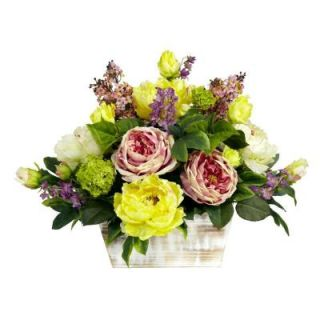 Nearly Natural 17 in. H Pink and Green Mixed Floral with White Wash Planter Silk Arrangement 1258