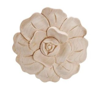 American Pro Decor 4 7/8 in. x 3/4 in. Unfinished Large Hand Carved North American Solid Hard Maple Wood Onlay Rose Wood Applique 5APD10364