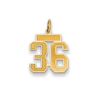 The Jersey Small Jersey Style Number 36 Pendant in 14K Yellow Gold