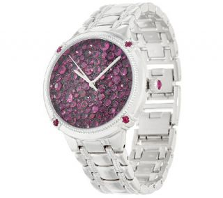 Ecclissi Facets Pave Ruby Stainless Steel Watch 7.00 cttw —