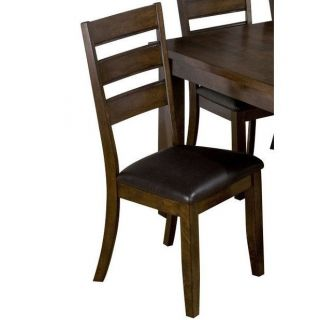 Jofran 337 923KD Triple Slat Leather Dining Chair with Faux Leather Seat in Taylor Brown Cherry   Set of 2