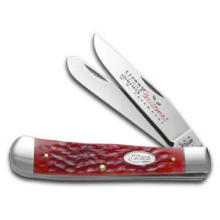 CASE XX Christmas Jigged Dark Red Bone Trapper Stainless Pocket Knife Knives