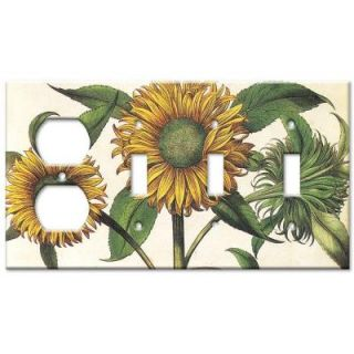 Art Plates Sunflowers Outlet/Triple Switch Combo Wall Plate OSSS 140