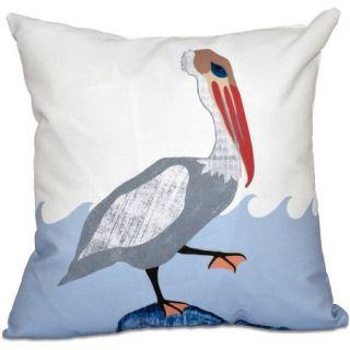 "Simply Daisy 16"" x 16"" Bird Wave Animal Print Outdoor Pillow"