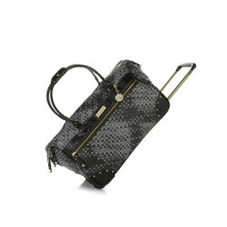 Samantha Brown Basket Weave Wheeled Weekender Bag   7860601