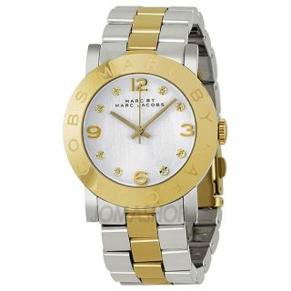 Marc Jacobs Amy Silver Dial Two Tone Stainless Steel Ladies Watch