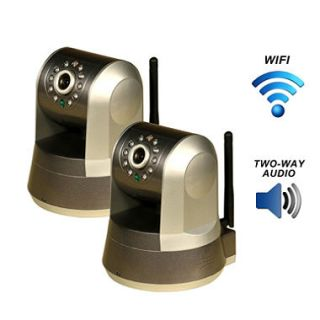 Two Piczel Wi Fi Wireless Internet Motorized Pan/Tilt Cameras with Smartphone Control and Image E mail   Model 165 2PK