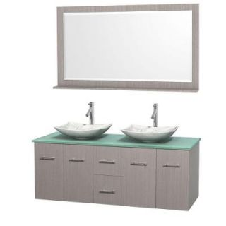 Wyndham Collection Centra 60 in. Double Vanity in Gray Oak with Glass Vanity Top in Green, Carrara White Marble Sinks and 58 in. Mirror WCVW00960DGOGGGS6M58
