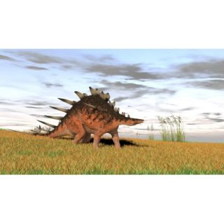 Kentrosaurus walking across a grassy field Poster Print (37 x 21)