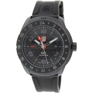 Luminox Mens A.5021.GN SXC Black/Red Dial Black Rubber Strap Date