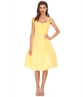 Unique Vintage Chiffon Garden State Dress Yellow, Clothing, Yellow, Women