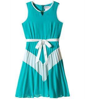 Us Angels Chiffon Sleeveless Color Block w/ Pleated Skirt (Big Kids) Jade