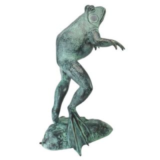 Medium Leaping Spitting Frog Cast Garden Statue by Design Toscano