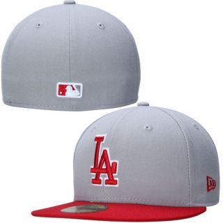 New Era Los Angeles Dodgers Gray/Red 2 Tone Southpaw 59FIFTY Fitted Hat