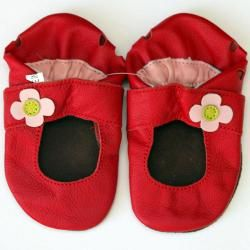Baby Pie Red Flower Leather Girls Shoes   12991488
