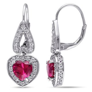 Miadora Sterling Silver Created White Sapphire and Created Ruby Heart