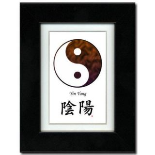 Oriental Design Gallery Yin Yang Brown / White Calligraphy Framed Graphic Art