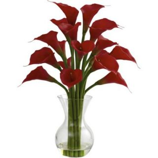 Nearly Natural Galla Calla Lily with Vase Arrangement, Red