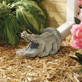 design toscano alligator decorative garden downspout collection - Decorative Downspouts