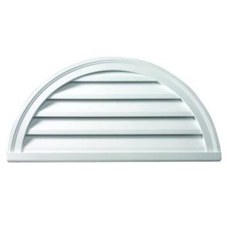 Fypon 36 in. x 18 in. x 2 in. Polyurethane Functional Half Round Louver Gable Vent FHRLV36X18