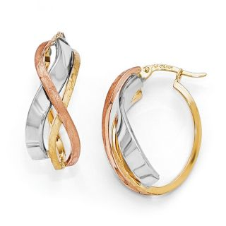 14k Tri Color Gold Polished and Brushed Fancy Hoop Earrings   18555080