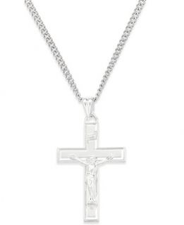 Crucifix Pendant Necklace in Sterling Silver   Necklaces   Jewelry