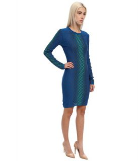 Missoni Placed Dash Knit Long Sleeve Dress Bright Blue