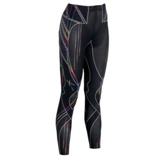 CW X Revolution Tights   Womens   Running   Clothing   Black/Rainbow Stripes Print