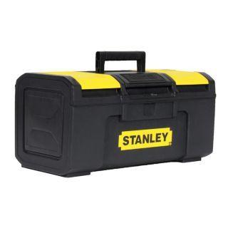 "STANLEY Plastic Portable Tool Box, 6 3/8""H x 15 1/2""W x 8 3/4""D, 742 cu. in., Black   14C629|STST16410   Grainger"